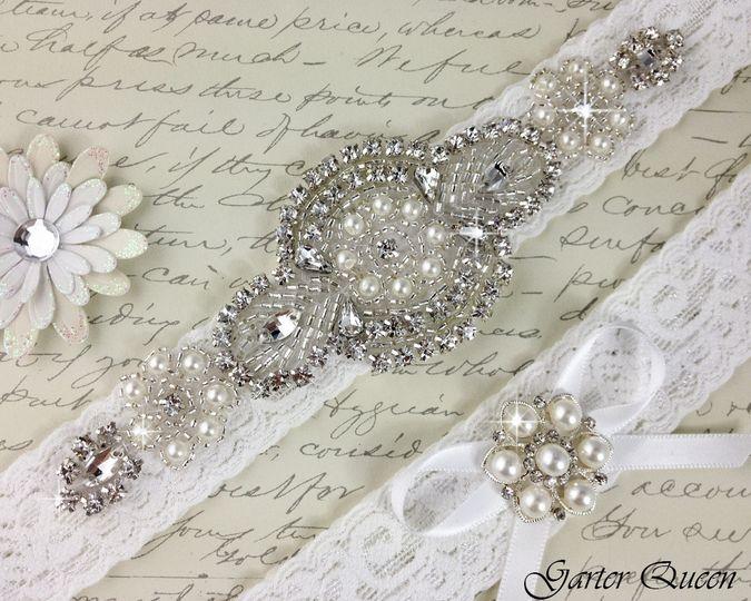 bridal garter white wedding garter set garterqueen 3