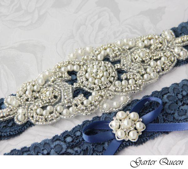 wedding garter set stretch lace rhinestone applique garterqueen
