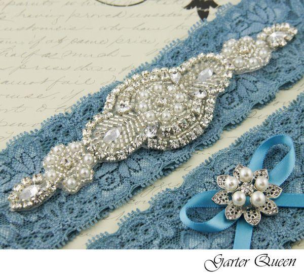 wedding garter set blue lace rhinestone applique garter queen 1
