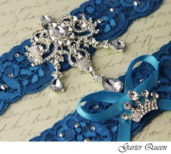 wedding garter set blue stretch lace rhinestone applique 2