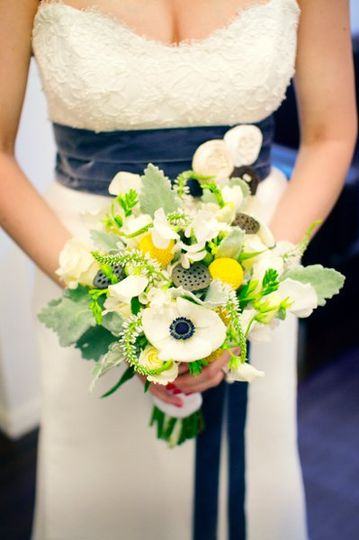 Blue, white and yellow bouquet with anemones