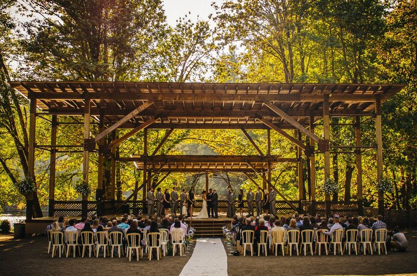 Fall wedding at the Stage area at Horning's Hideout