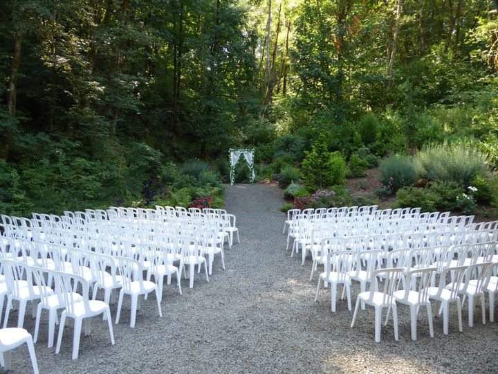 Lakeside waterfall ceremony area