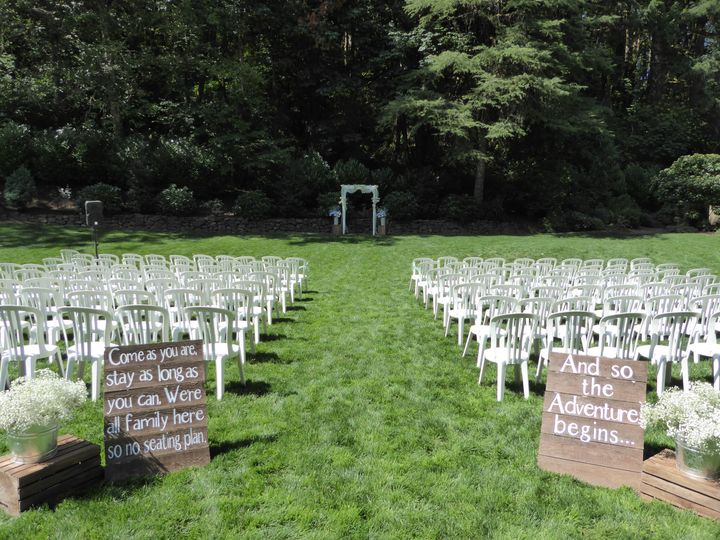 Lakeside lawn wedding