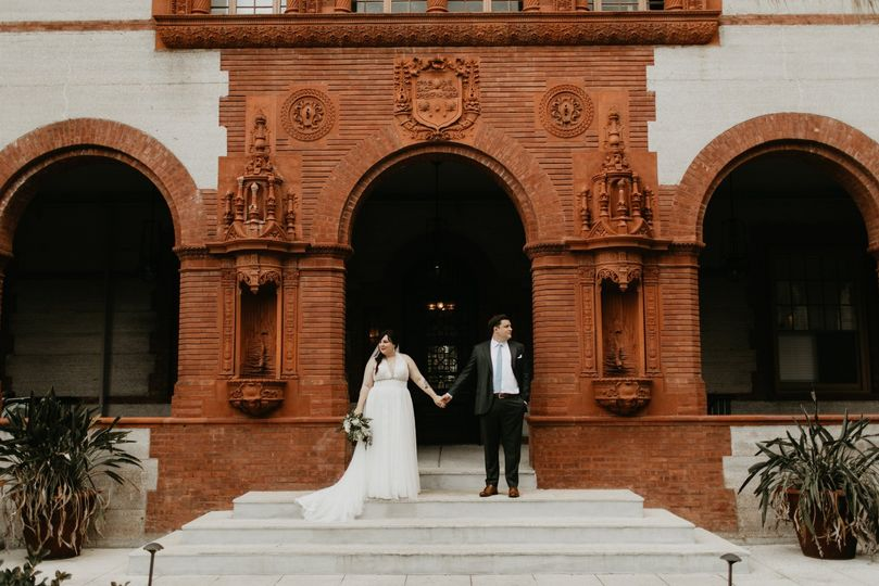 Bride and Groom in Courtyard