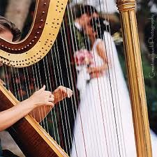 Couple behind harp