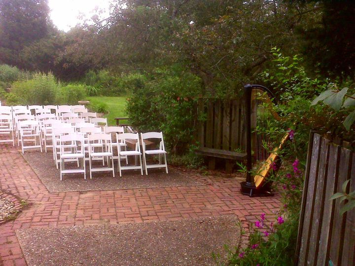 Harp outside at garden wedding