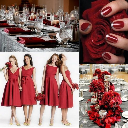 red and silver wedding inspiration board
