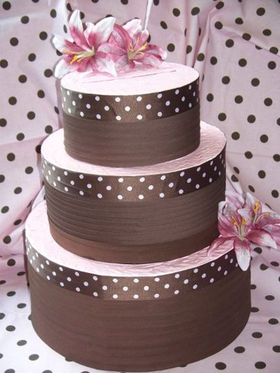 Raspberry Delight Faux Wedding Cake - Reception Card Holder