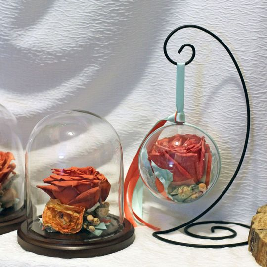 Ornaments and Domes with Coral roses.