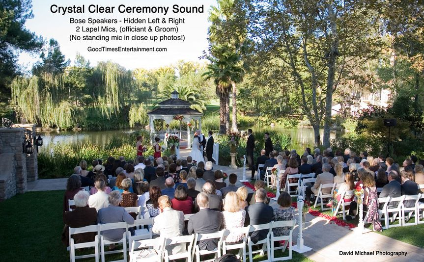 Beautiful garden wedding, two hidden microphones and two hidden speakers for superb sound and...