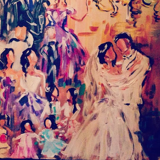 Detail of a wedding painting from the royal oak golf club