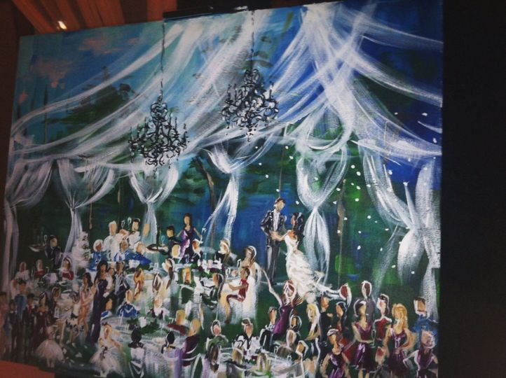 A painting of an evening reception