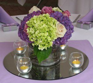 Hydrangea, Rose, and Twig Centerpiece