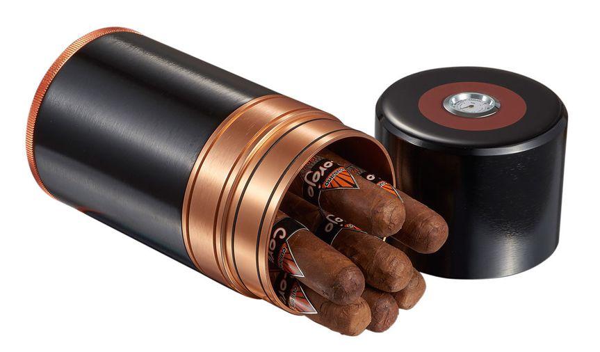 visol big joe travel cigar case black copper holds