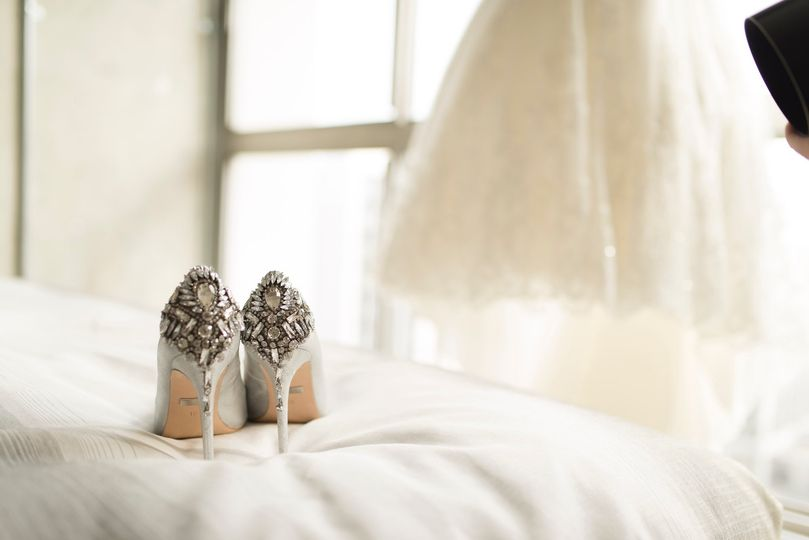 Bridal dress and shoes