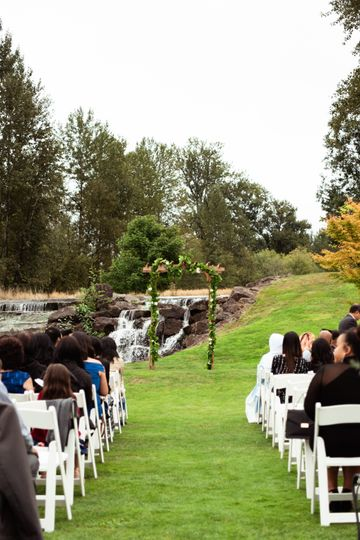 Outdoor waterfall ceremony