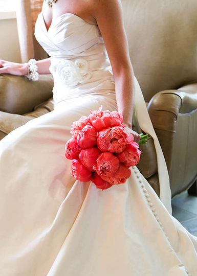 Bright peony bridal bouquet