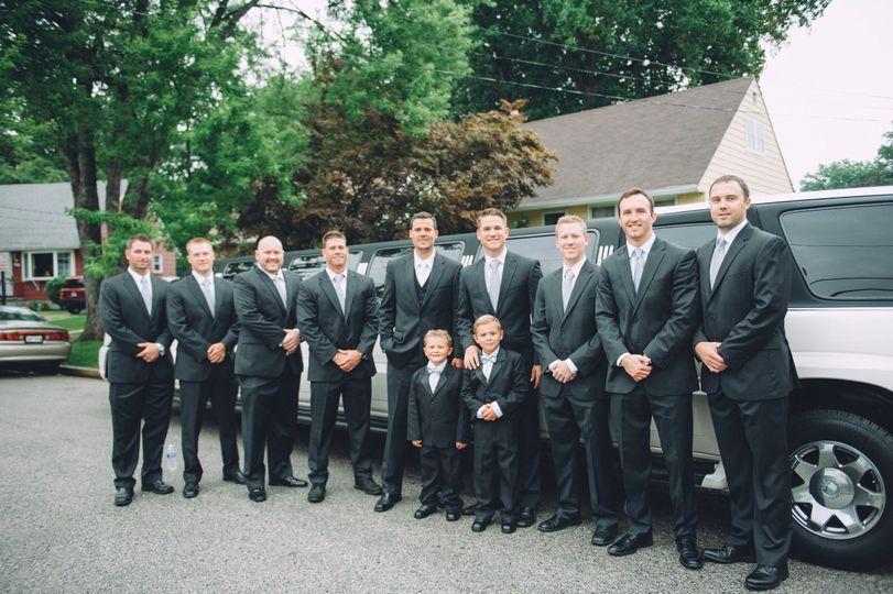 Groom, groomsmen, and the little guys