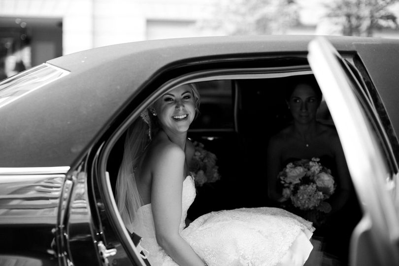 Bride stepping out of the car