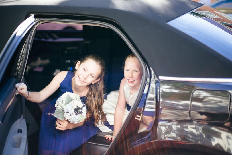Girls stepping out of the car