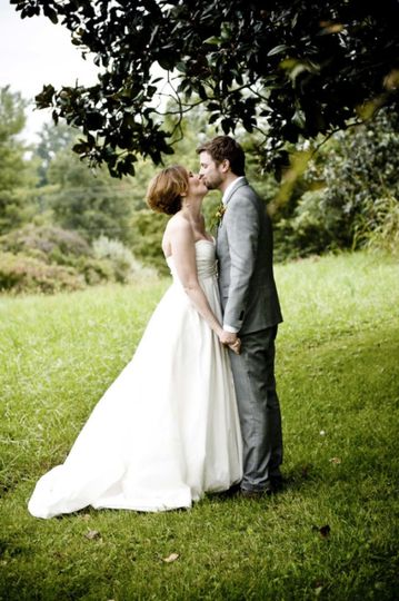 Couple's traditional wedding kiss