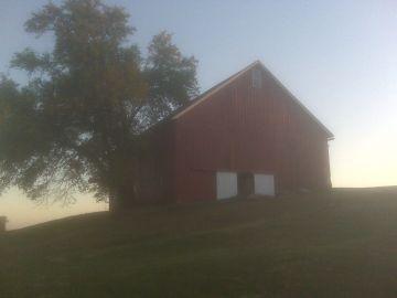 Wea Creek Orchard barn at dusk