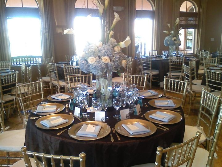 Gold and black tables
