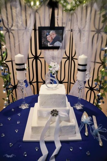 Lighted Iron backdrop with Tulle, garland and lights, Crystal candle Holders, Cake/Knife set, 8x10...