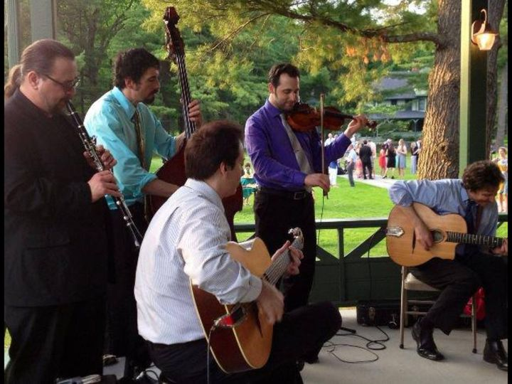 Performing with gypsy jazz quintet