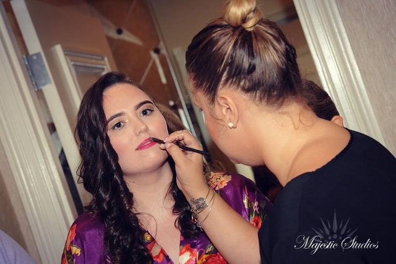Bride and her makeup artist