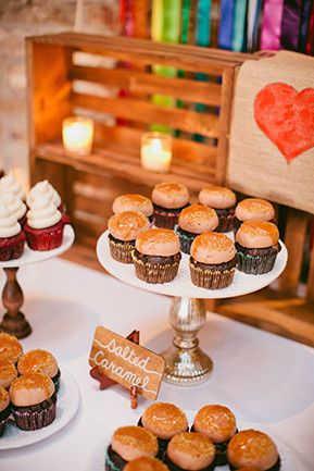 Salted caramel chocolate mini wedding cupcakes at a rustic wedding