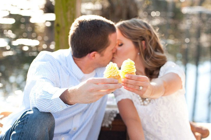 499377e9fbc78092 1432860375202 engagement photo with wedding cupcakes photo by