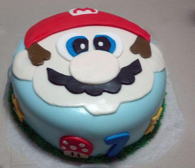 Mario Birthday Cake - Chocolate Cake with Vanilla Buttercream covered with Fondant