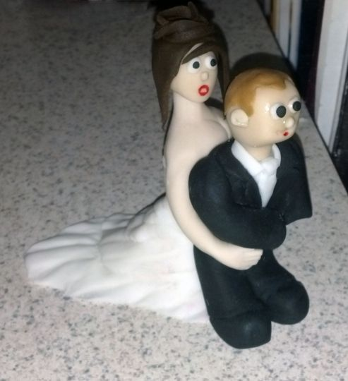 Customized Bride and Groom for Groom Cake made from Fondant