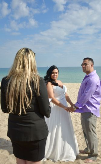 Officiating a beach wedding ceremony