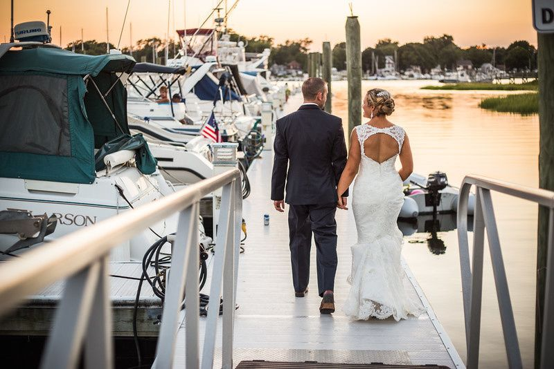 bride groom dock walk