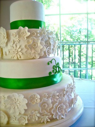 Apple Green & White wedding with sugared flowers