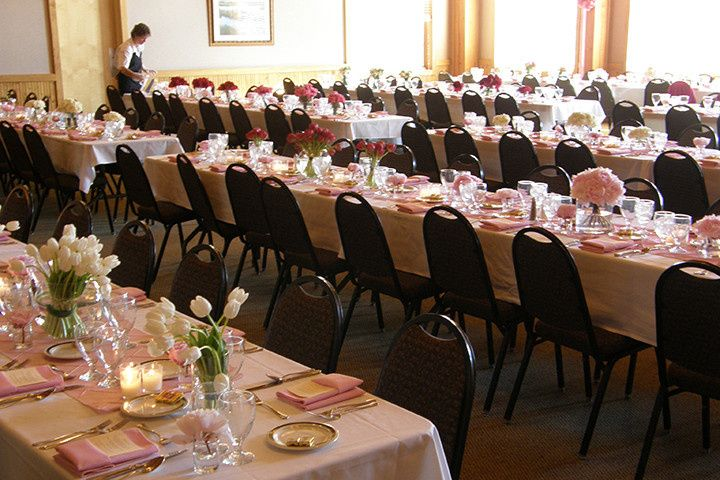 Banquet tables set in Upper Level