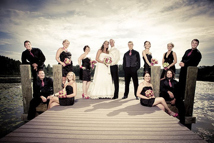Wedding party on pier