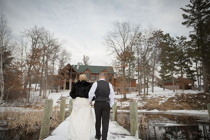 Winter wedding lakeside view