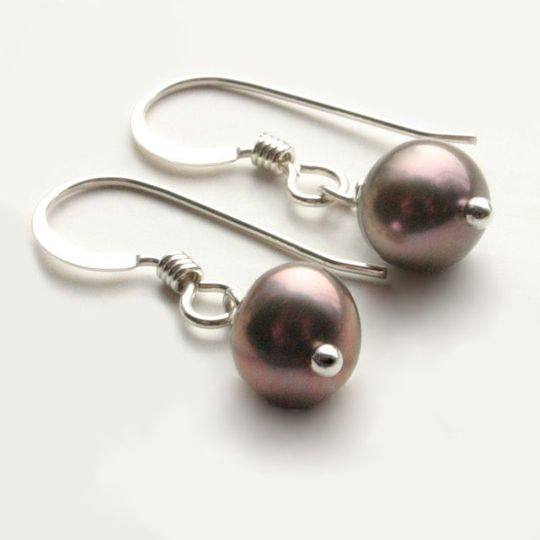 Sugar Plum Earrings These silvery plum freshwater pearls are super cute and dainty attached to...
