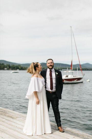 Lake George wedding couple