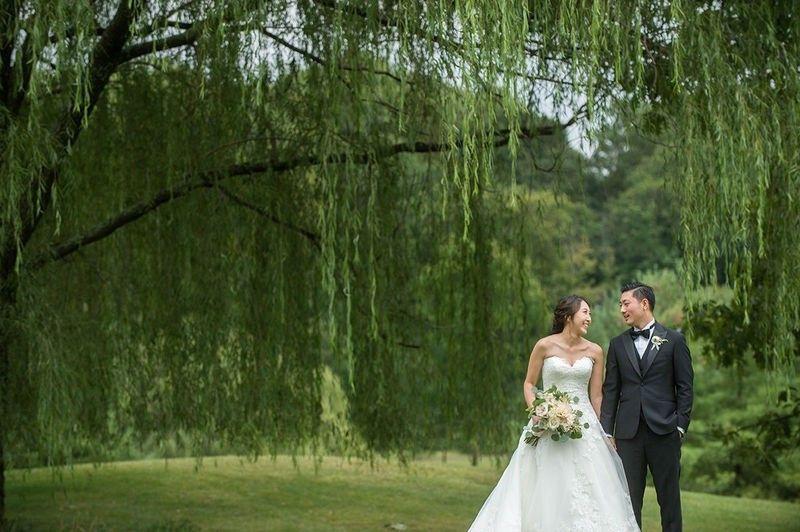 Newlyweds under the trees