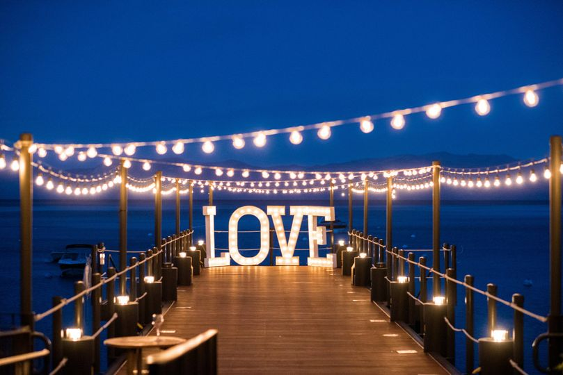 Beach boardwalk wedding