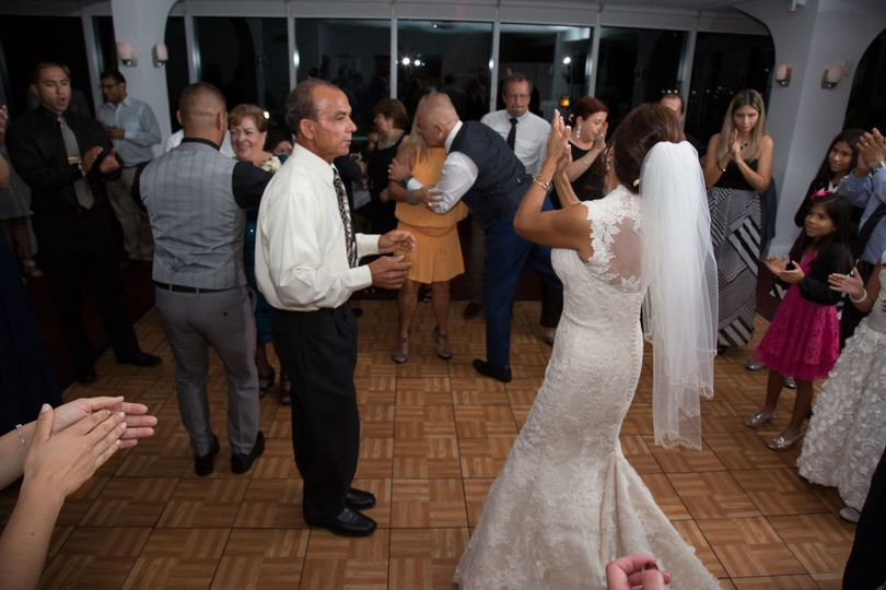 The bride dancing