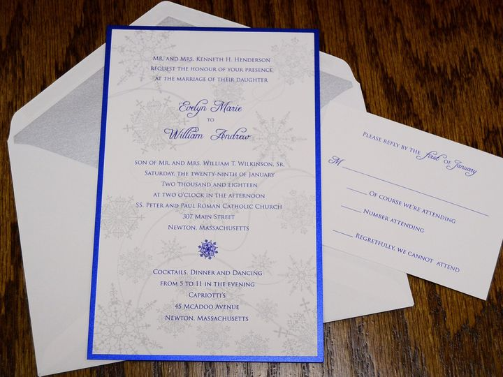 Tmx 1446045772184 Snow Flakes Evelyn  William Iii Quakertown, PA wedding invitation