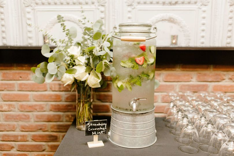 Infused water and floral decor