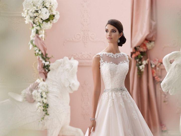Tmx 1457216693128 David Tutera 115244 Seraphina Bateau Neck Sheer Ba Maple Shade wedding dress