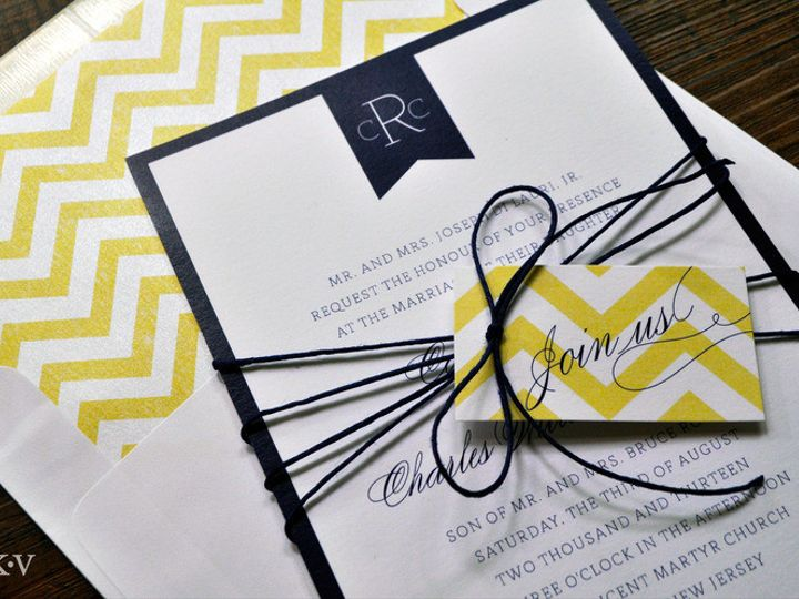 Tmx 1418951203259 Yellowchevronweddinginvitationintwine Sparta wedding invitation